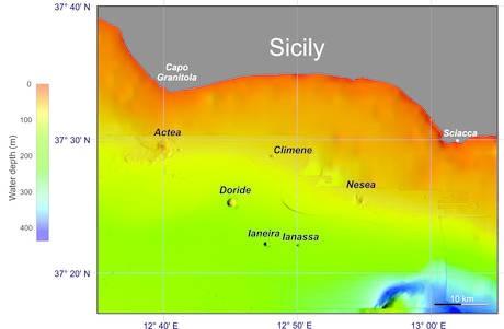 Scoperti 6 vulcani sottomarini al largo della Sicilia