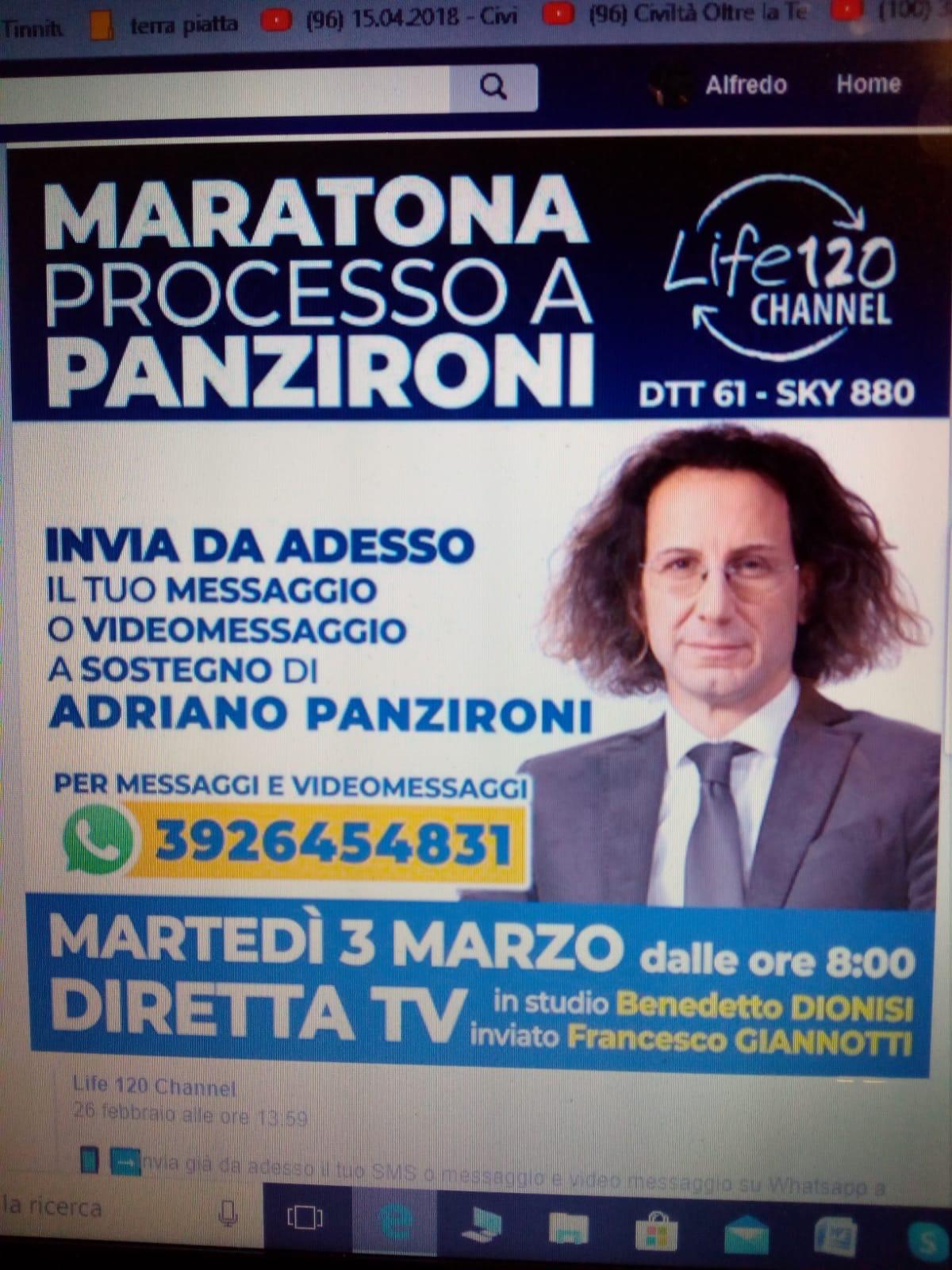 L'annuncio della diretta tv del processo ad Adriano Panzironi