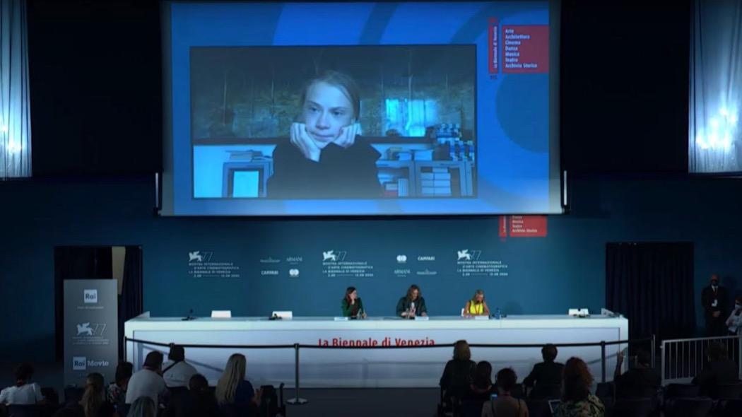 Greta Thunberg è alla Mostra di Venezia (in collegamento dalla sala professori)